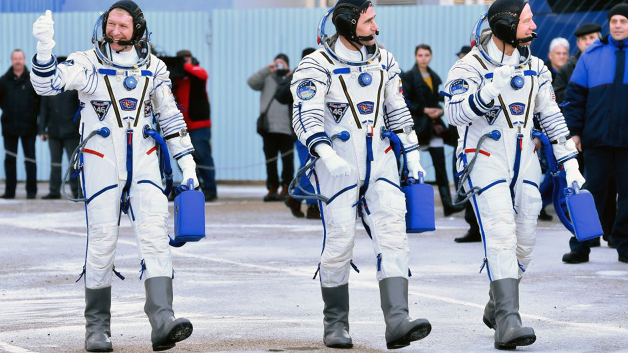 A three-man crew, including British astronaut Tim Peake, landed in the Kazakh steppe on Saturday after completing a six-month mission at the International Space Station (ISS).