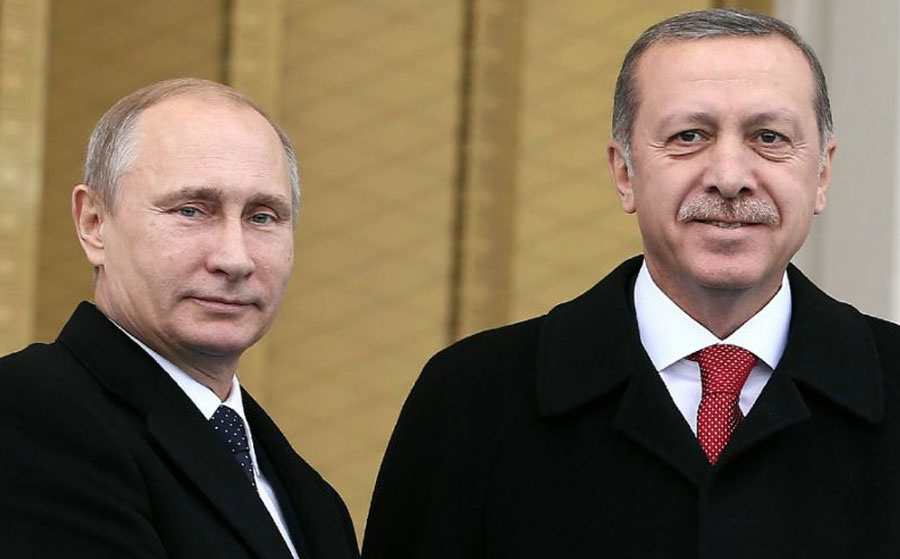 Russian President Vladimir Putin (L) and his Turkish counterpart Recep Tayyip Erdogan, pictured together in Ankara (AFP Photo/Adem Altan)