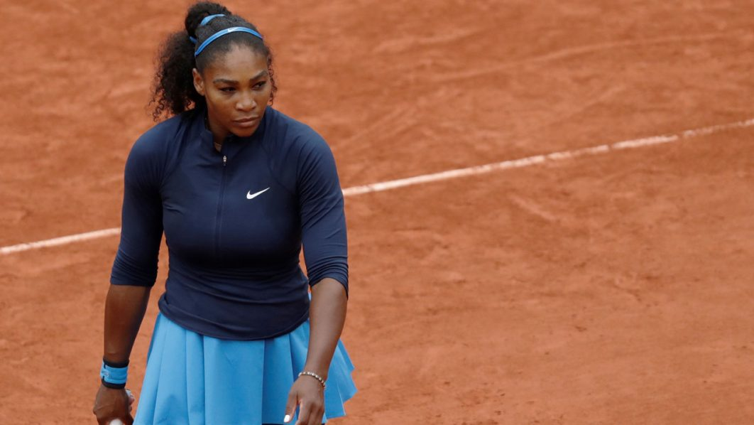 US player Serena Williams reacts during her women's semi-final match against Netherlands' Kiki Bertens at the Roland Garros 2016 French Tennis Open in Paris on June 3, 2016. / AFP PHOTO / Thomas SAMSON