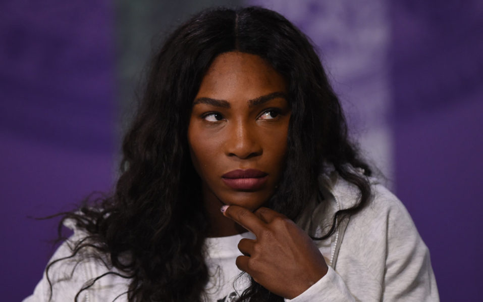 US player Serena Williams gives her pre-Championships press conference at The All England Lawn Tennis Club in Wimbledon. / AFP PHOTO / POOL / AELTC / Florian EISELE /