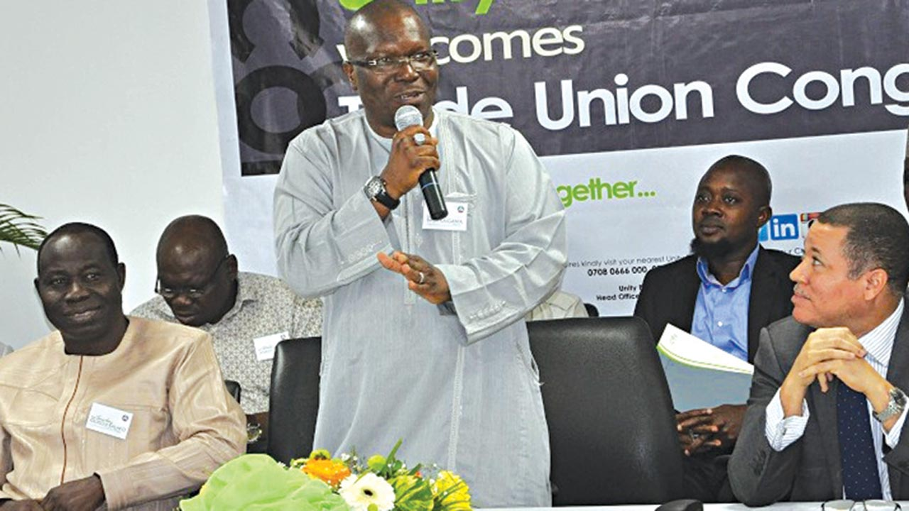 First Deputy President, Trade Union Congress of Nigeria (TUC), Olusoji Sunday Salako (left); President, Bobboi Bala Kaigama; and other members of the National Administrative Council, (NAC) during an interactive session with the management of Unity bank Nigeria Plc.