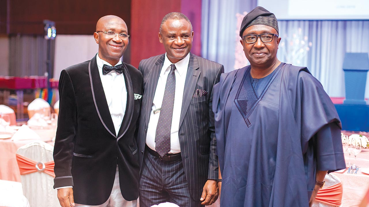 "Former president of the Nigerian Bar Association (NBA), Chief Wole Olanipekun (SAN), former managing director of the Niger Delta Development Commission (NDDC), Dan Abia and the former attorney general of the federation and minister of Justice, Mr. Bayo Ojo at the UNILAG's ""Law Alumni and Friends Gala & Award Evening"" held at Intercontinental Hotel, Lagos."