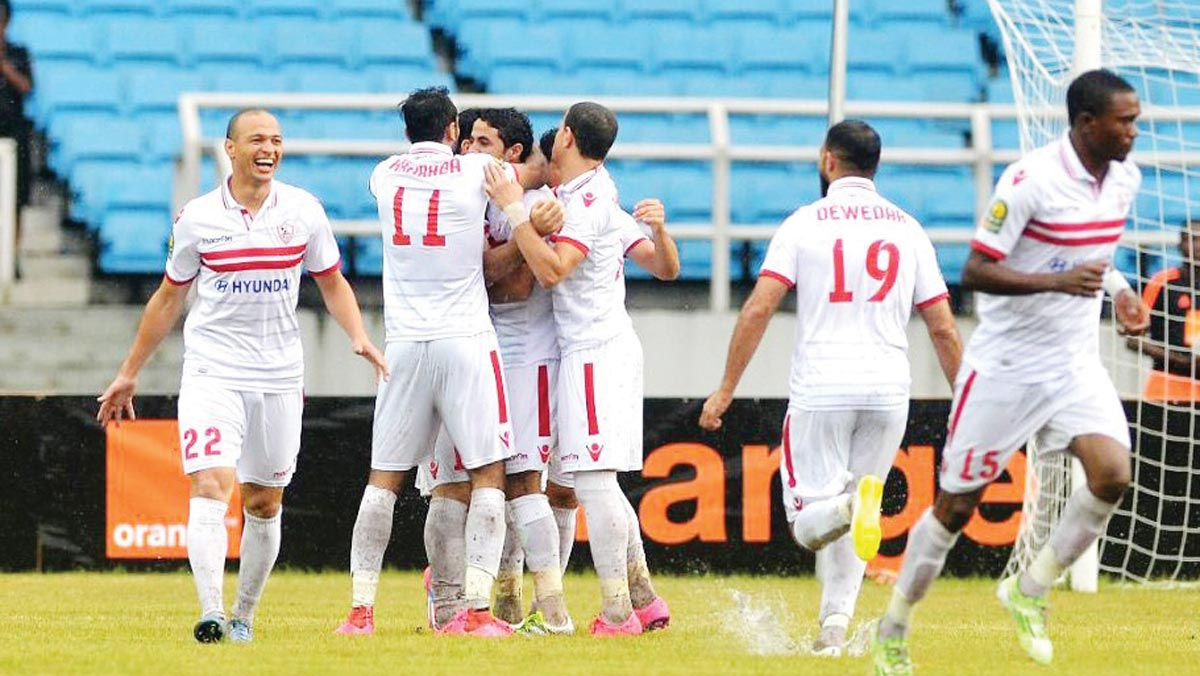 Zamalek players celebrate after beating Enyimba 1-0 in Aba…at the weekend.