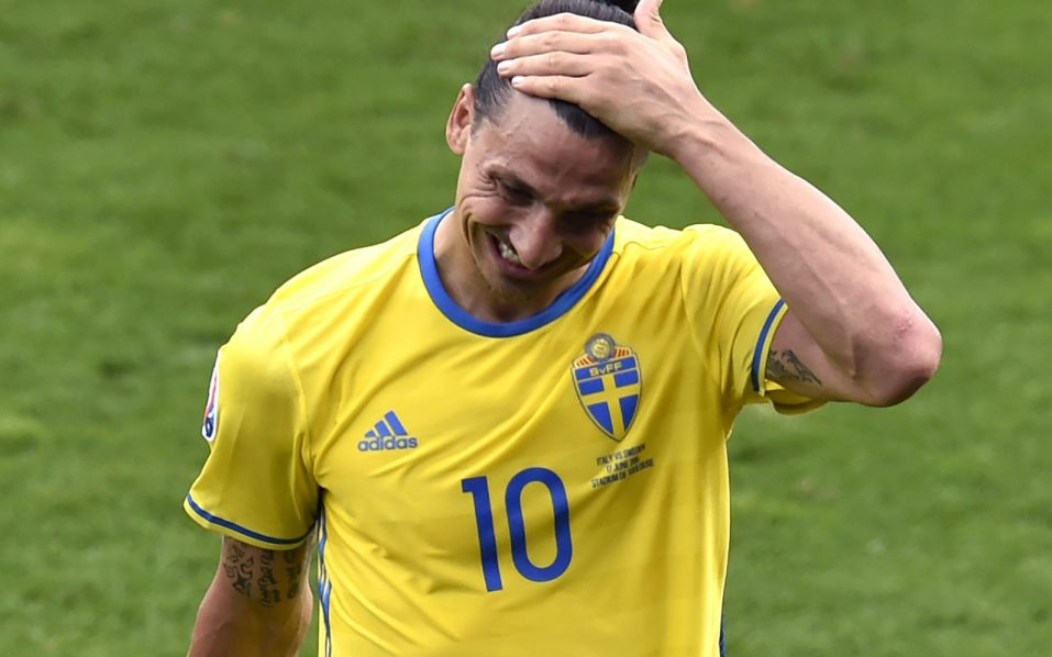 Sweden's forward Zlatan Ibrahimovic.  / AFP PHOTO / Pascal PAVANI