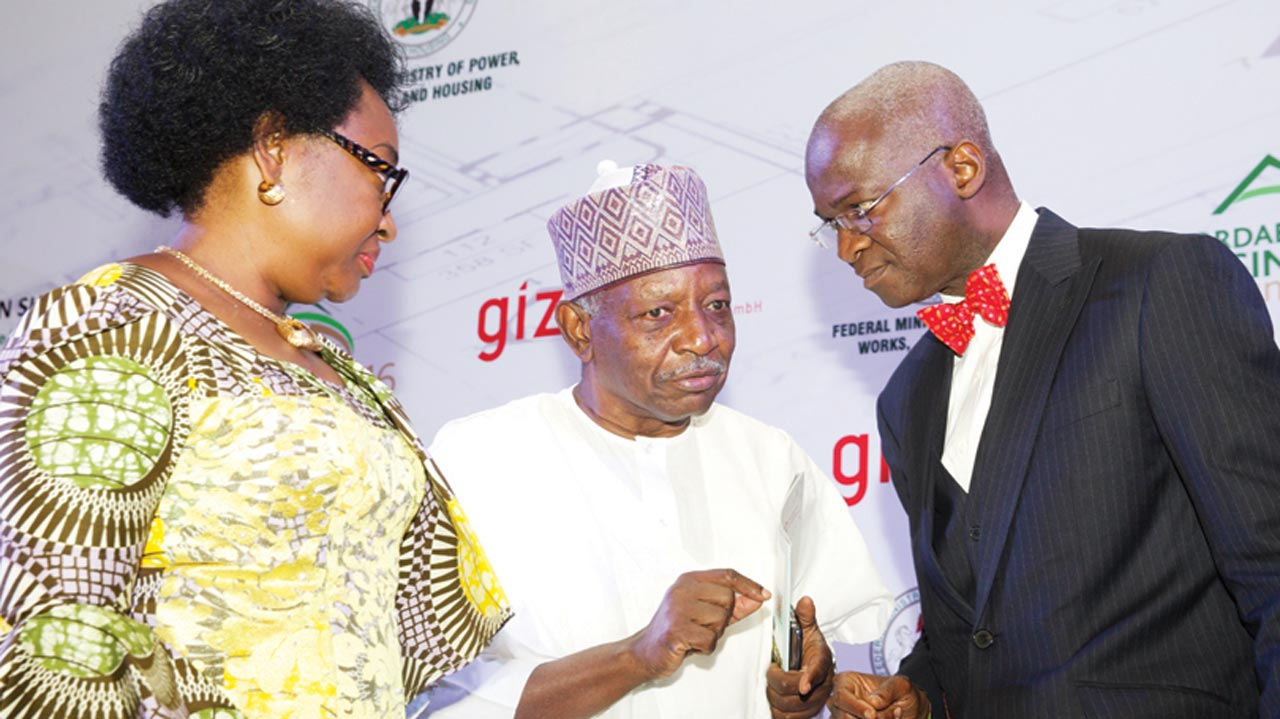 Head of Civil Service of the Federation (HoCSF), Winifred Oyo-Ita Ekanem (left); Minister of Power, Works and Housing, Babatunde Fashola (SAN) (right)and Chairman, Urban Shelter, Aliyu Ibrahim, during the opening session of the affordable housing summit 2016 with the theme Developing a Blueprint for Affordable Housing Delivery in Nigeria organised by the ministry and the German Development Co-operation in Abuja… yesterday.