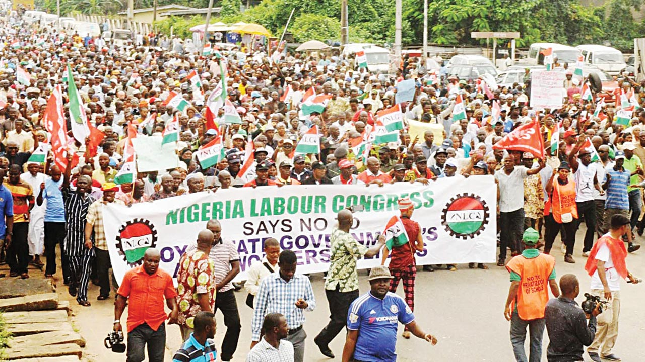 Members of Oyo State chapter of the Nigeria Labour Congress (NLC), at a rally to protest against alleged state government's anti-workers policy in Ibadan PHOTO: NAN