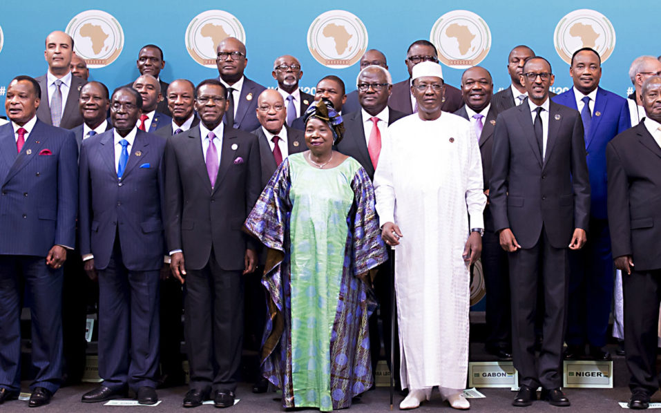 Egypt's president Abdel Fattah el-Sisi (L), Guinea-Bissau's president Jose Mario Vaz (2nd row, L), Democratic Republic of Congo's president Joseph Kabila (3-L), Congo's president Denis Sassou Nguesso (6-L), Ivory Coast's president Alassane Ouattara (7-L), Zimbabwe's president Mugabi (8-L), Guinea's president Alpha conde (9-L), Equatorial Guinea's president Teodoro Obiang Nguema Mbasogo (10-L), South Africa's president Jacob Zuma (11-L), African Union (AU) chair Nkosazana Dlamini-Zuma (C), Sierra Leone's Ernest Bai Koroma (12-R), Chad's president Idriss Deby (11-R), Gabon's president Ali Bongo Ondimba (10-R), Rwanda's president Paul Kagami (9-R), Niger's president Mahamadou Issoufou (8-R), Uganda's president Yoweri Museveni (7-R), Liberia's president Ellen Johnson Sirleaf (3-R), Madagascar's president Hery Rajaonarimampianina (2-R), Togo's president Faure Gnassingbé (R) and other heads of State pose during a photo call before the official opening of the 27th African Union (AU) Summit in Kigali on July 17,2016.  Renewed fighting in South Sudan that has claimed more than 300 lives dominated discussions at an African Union summit that opened July 17 in the Rwandan capital Kigali. A shaky ceasefire has held since late July 11 following the fighting that raged for four days in Juba, leaving hundreds dead and forcing 40,000 to flee their homes.  / AFP PHOTO / CYRIL NDEGEYA