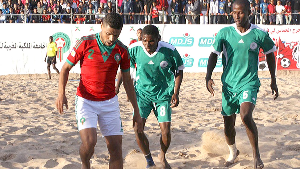 Sand Eagles battling with Morocco at the African Beach Soccer Championship.
