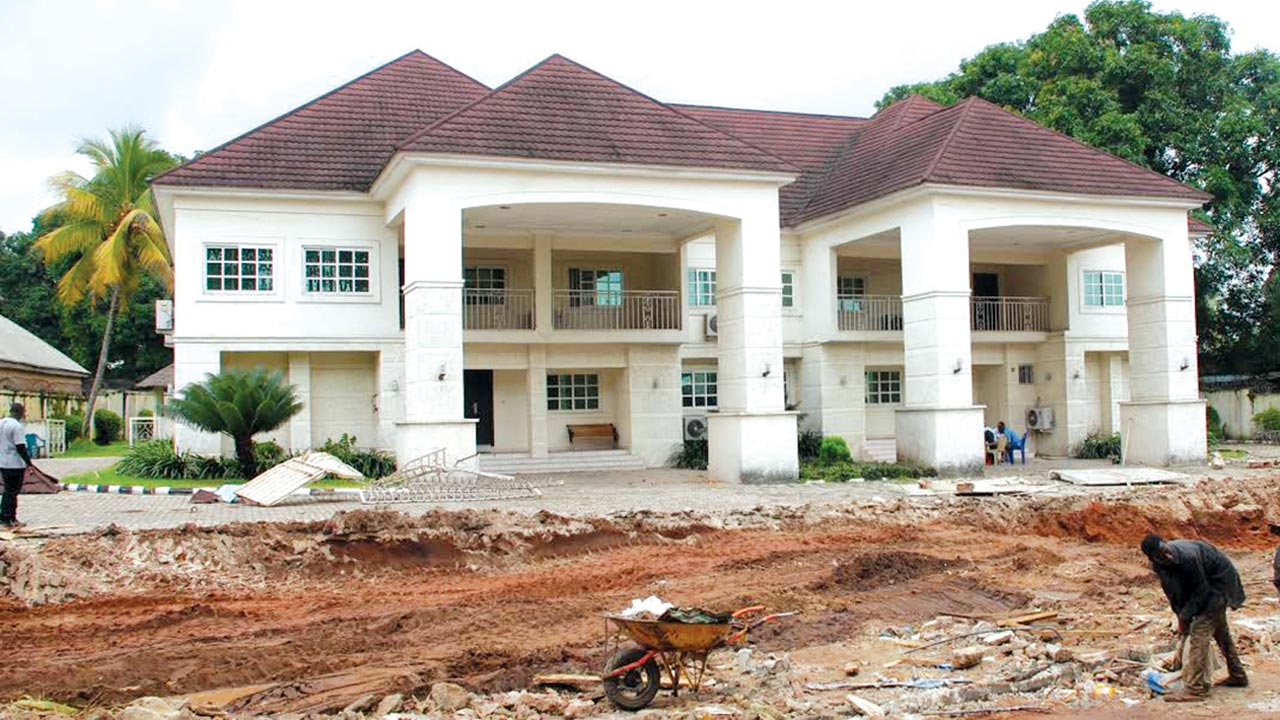 Residence of former minister of interior capt emma iheanacho after the fence had been