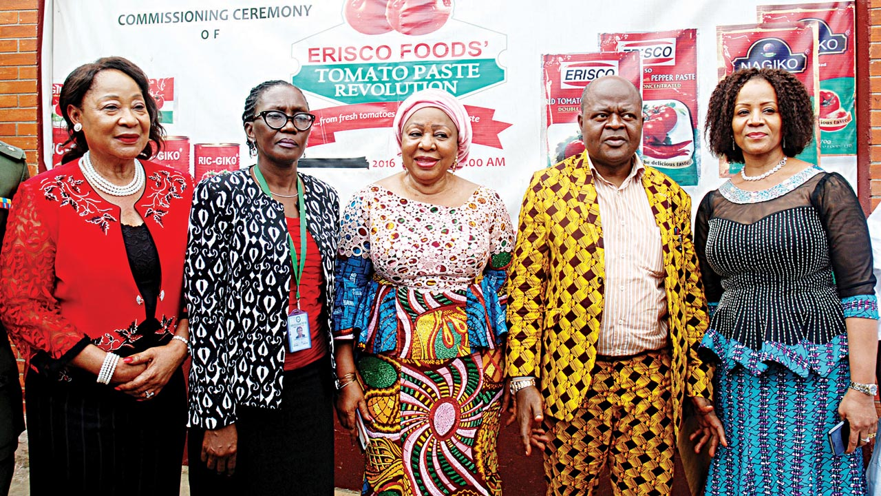 President, Lagos Chamber of Commerce and Industry, Chief Nike Akande (left); General Manager, Nigerian Social Insurance Trust Fund, Lagos Regional Office, Mrs. Olufunke Aleshinloye; Sen. Florence Ita-Giwa; Chief Executive Officer, Erisco Foods Ltd, Chief Eric Umeofia; and Executive Director, Erisco Foods Ltd, Mrs. Nmachukwu Umeofia during the factory tour of Erisco Foods Tomato paste processing technology and innovations, in Lagos. PHOTO: FEMI ADEBESIN-KUTI