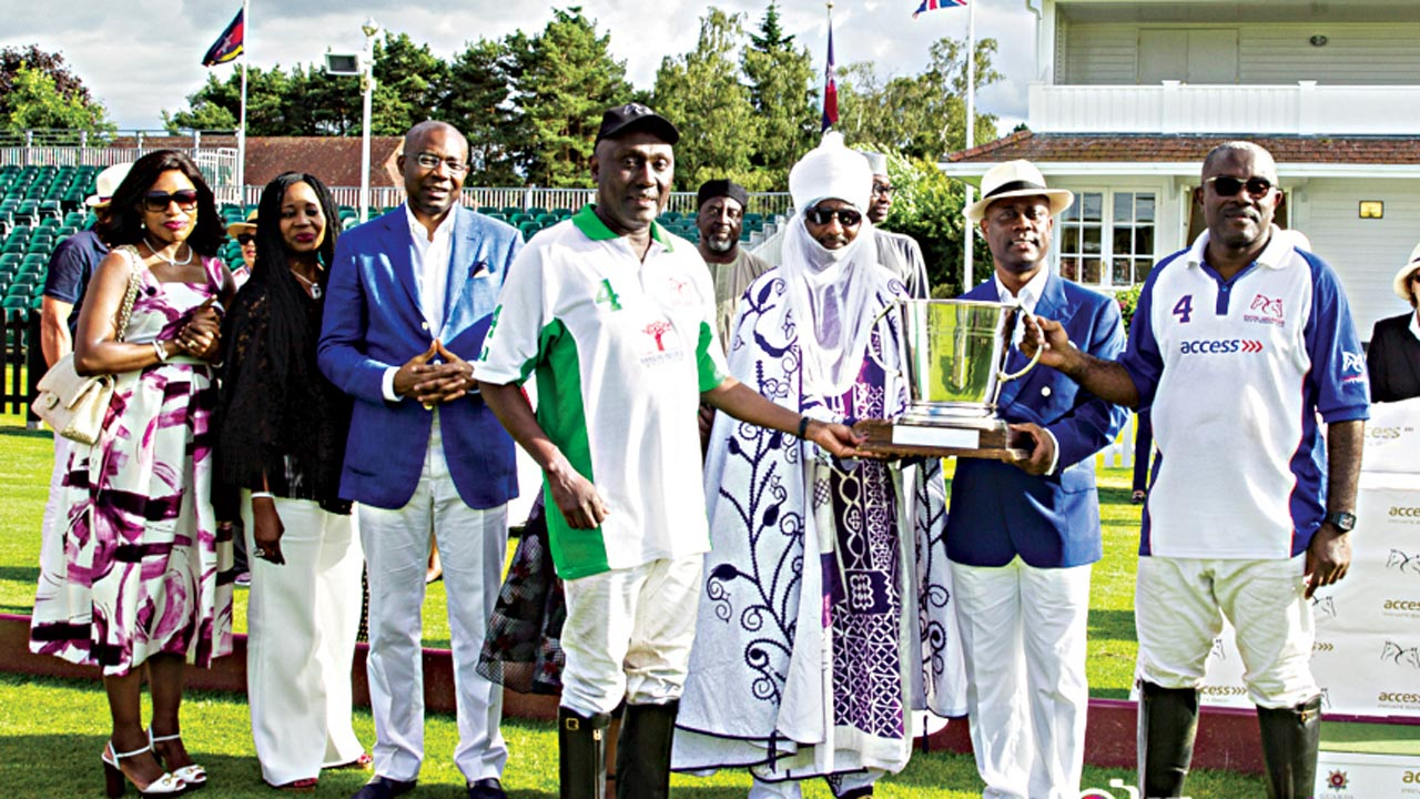 Emir of Kano, Lamido Sanusi Lamido (middle), officials of Access Bank and Fifth Chukker, as well as polo players at the closing ceremony of the Access Bank Day at Guards Polo Club, Windsor, England…at the weekend.
