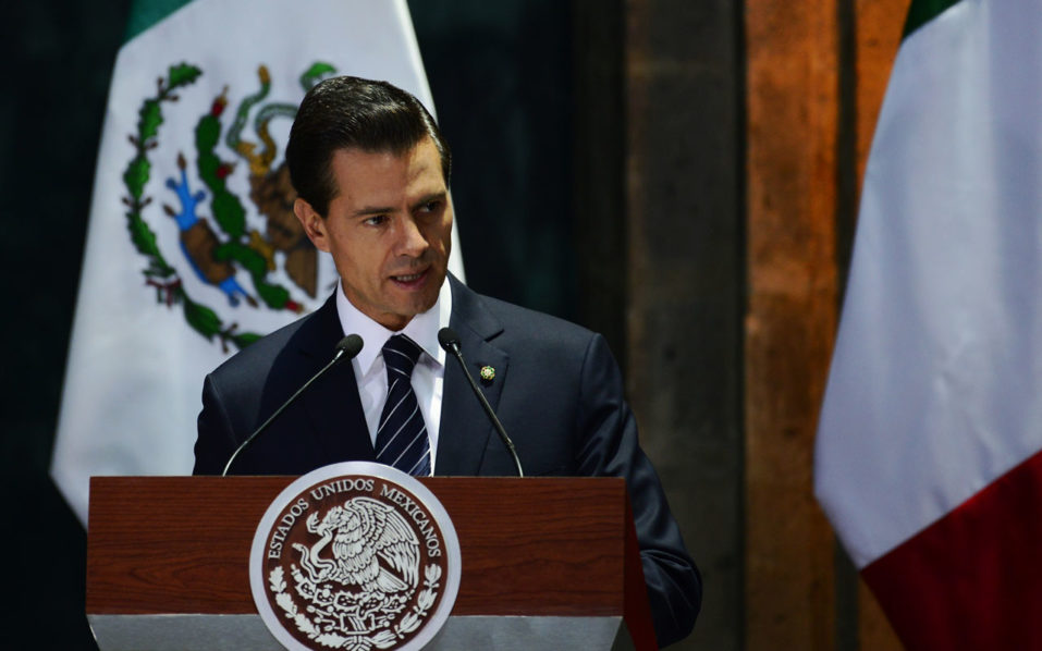 Mexican President Enrique Pena Nieto delivers a speech  during a media message at the National Palace in Mexico City on 04 July 2016.