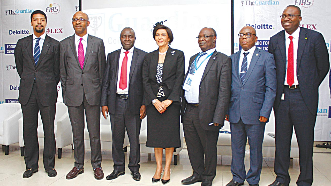 Executive Director, Guardian Newspapers Ltd., Toke Alex-Ibru (left); Tax Partner, AELEX, Theophilus Emuwa; Director-General, Lagos Chamber of Commerce and Industry, Muda Yusuf; Chairman/Publisher, The Guardian, Lady Maiden Alex-Ibru; Coordinating Director, Domestic Tax Group, Federal Inland Revenue Service (FIRS), Ajayi Bamidele; immediate past President, Chartered Institute of Taxation, Chief Mark Dike and Tax Partner, Akintola Williams Deloitte, Oluseye Arowolo at The Guardian Conference and Masterclasses Economic Forum Series on Tax in Lagos…yesterday. PHOTO: FEMI ADEBESIN-KUTI