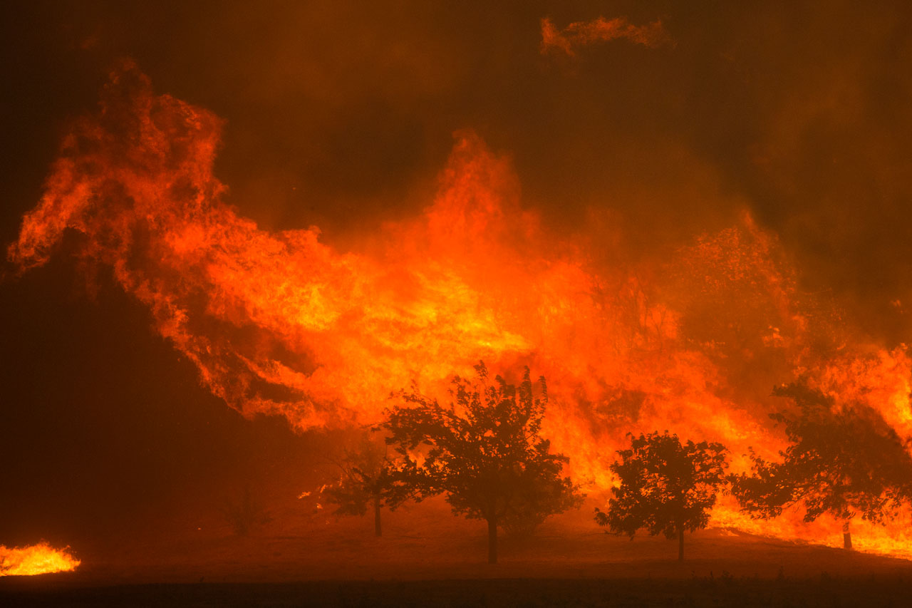 Flames blown by strong winds close in on homes at the Sand Fire on July 23 2016 near Santa Clarita, California. Fueled by temperatures reaching about 108 degrees fahrenheit, the wildfire began yesterday has grown to 11,000 acres. DAVID MCNEW / AFP