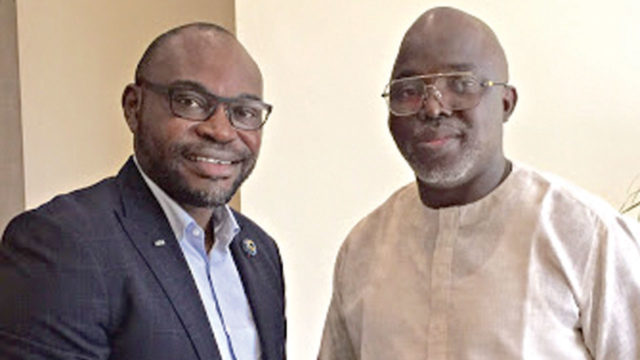 Frank Momoh (left) with President of NFF, Amaju Pinnick