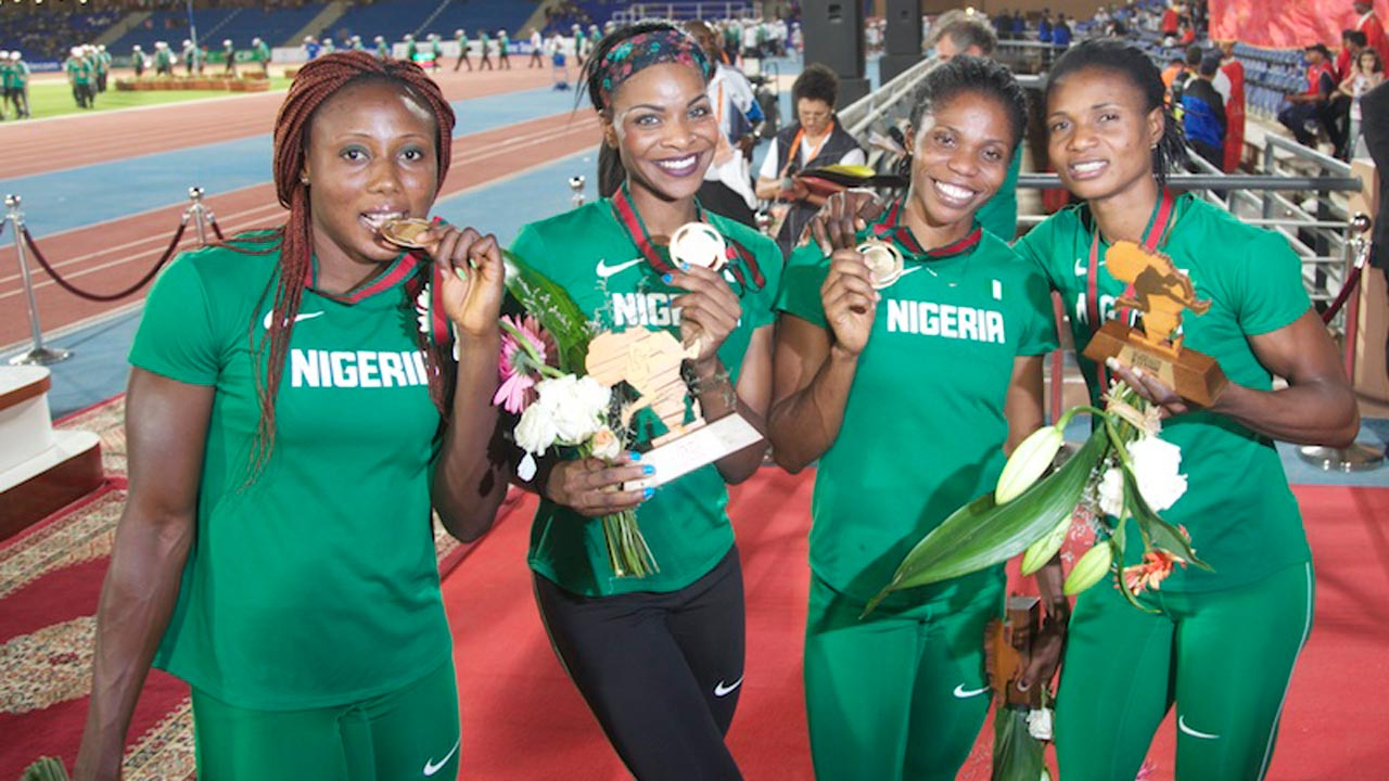 Regina George (second left) will represent Nigeria in the 400m and the 4x400metres relay at the Rio Olympics. PHOTO: AFP