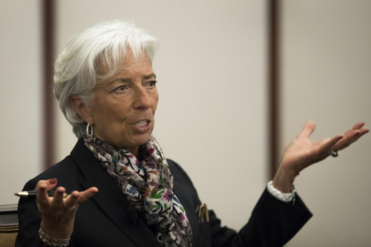 Christine Lagarde, Managing Director of the International Monetary Fund (IMF), speaks at the Federal Reserve Bank of New York, July 18, 2016 in New York City. PHOTO: Drew Angerer/Getty Images/AFP  Drew Angerer / GETTY IMAGES NORTH AMERICA / AFP
