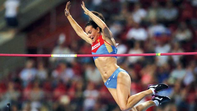 London 2012 Olympics gold medallist, Yelena Isinbayeva, will not represent Russia at the Rio 2016 Games. PHOTO: AFP.