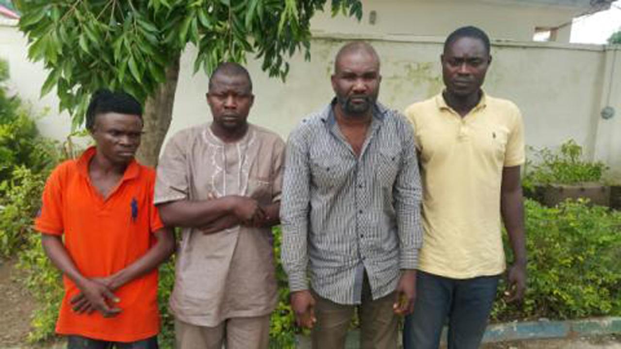 L-R: Four of the suspected killers of Olalekan Ogunranti: Akeem Akorede aka Jaruf, Ramoni Afolabi, Asimiyu Agboola, (gang leader) and Adesina Muyideen Aka Shina 27yrs paraded by the police on Tuesday, July 19, 2016.