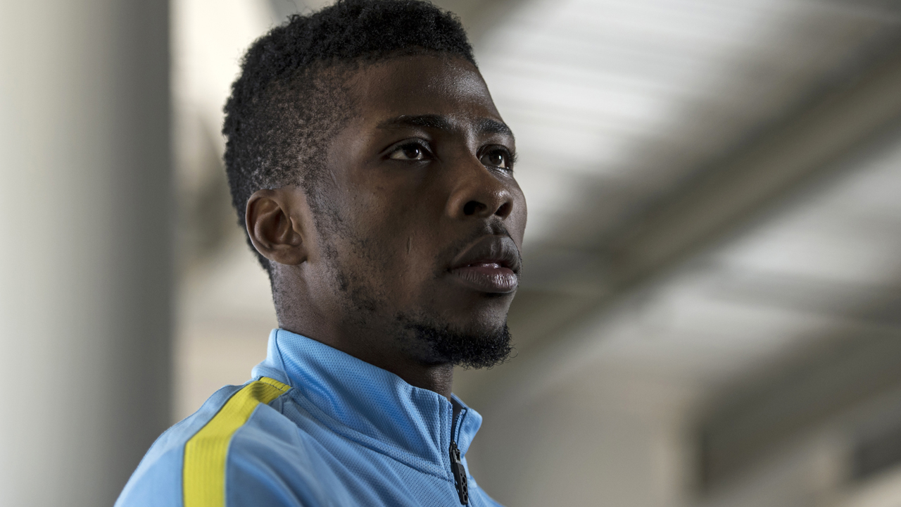 Manchester City's Nigerian striker Kelechi Iheanacho. / AFP PHOTO / OLI SCARFF