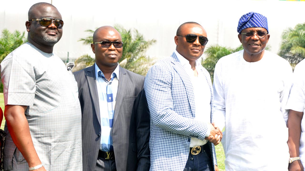 Executive Chairman of LADOL, Ladi Jadesimi (right); Chairman, House of Reps Committee on Local Content, Emmanuel Ekon, Executive Secretary, Nigerian Content Development and Monitoring Board (NCDMB), Obah Patrick, and Chairman, House Committee on Banking and Finance, Toby Okechukwu, during the tour of LADOL Free Zone in Apapa, Lagos.
