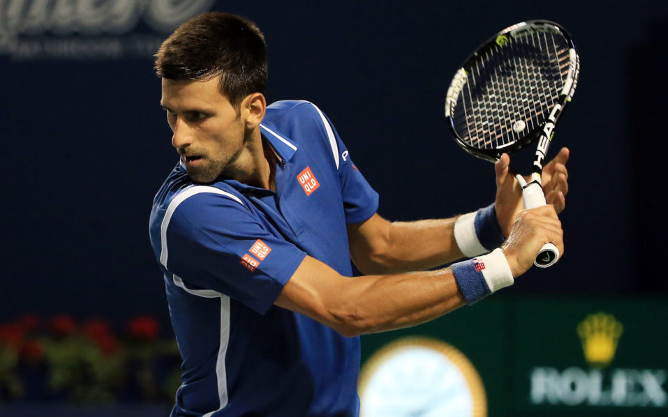 TORONTO, ON - JULY 28: Novak Djokovic of Serbia plays a shot against Radek Stepanek of Czech Republic during Day 4 of the Rogers Cup at the Aviva Centre on July 28, 2016 in Toronto, Ontario, Canada. Vaughn Ridley/Getty Images/AFP