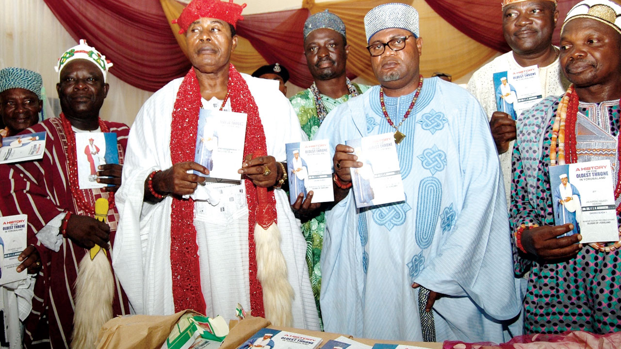 Onibuji of Ibuji, Ondo State, Oba Folagbade Ojo (left); Author, Olugbo of Ugbolad, Oba Obateru Akinruntan; Olupoti of Ipoti Ekiti, Oba Oladipupo Kolade; Odooka of Ogbaro, Oba Adekunle Ogbaro and Eleiti of Eriti - Akoko, Oba Sunday Ogunleye, at a Book Launch; A History of The Oldest in Yorubaland; Written by Olugbo of Ugbo in Ugbo at the Weekend,                          Photo; NAJEEM RAHEEM