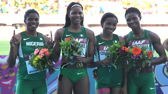 Regina George (second left) and other Nigerian athletes won't take part in the 4x400m relay in Rio