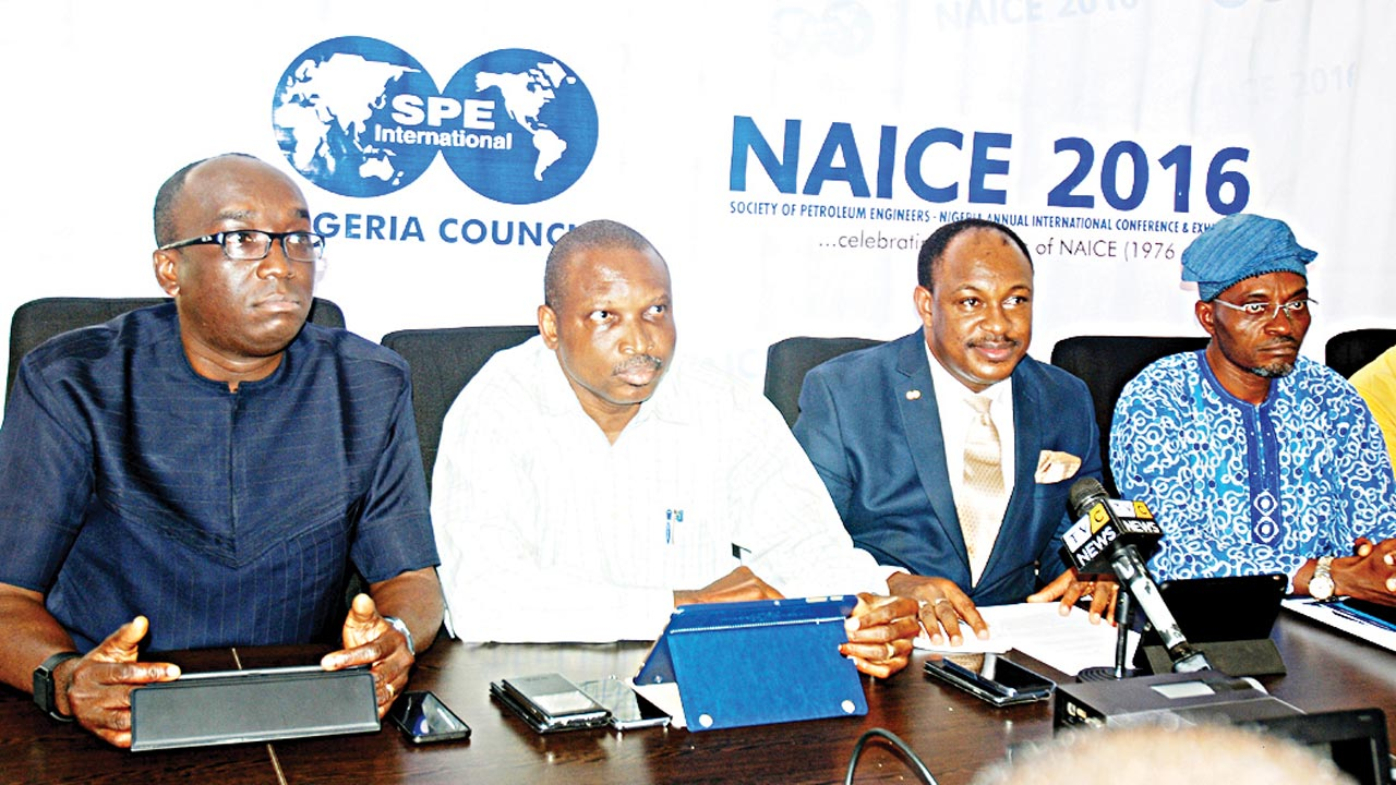Chairman, Technical Information/Technical Standing Committee, Society of Petroleum Engineers (SPE), Nigeria Council, Debo Fagbami (left); Secretary, SPE Nigeria Council/Nigerian Annual International Conference and Exhibitions 2016 (NAICE 2016) Secretariat Sub-Committee Chairman, Ignatus Anyanwu; Chairman, SPE Nigeria Council, George Kalu; and Vice Chairman, SPE Nigeria Council, Dr. Saka Metemilola, at the media briefing on SPE/NAICE 2016 in Lagos.