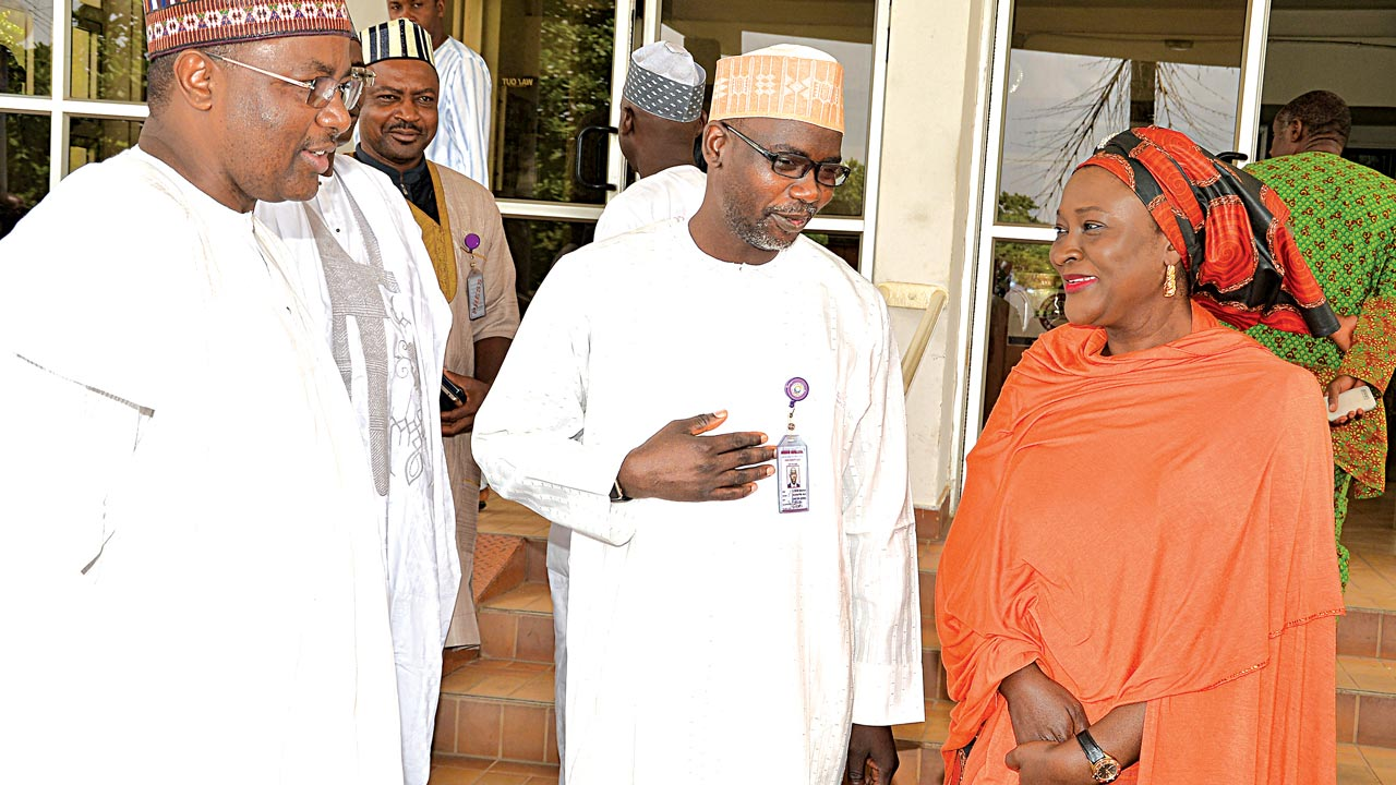 Director General Securities and Exchange Commission (SEC); Mounir  Gwarzo (left), Director General Federal Radio Corporation of Nigeria (FRCN); Dr. Mansur Liman, and Executive Commissioner Legal and Enforcement, SEC, Sa'adatu Bello