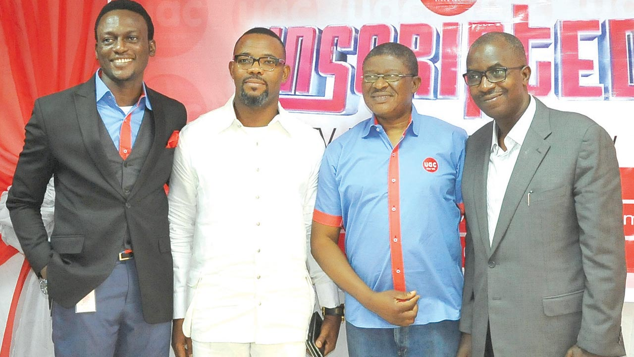 Corporate Marketing Services Manager, UACN, Mr. Seyi Fawehinmi (left); Comedian Okey Bakassi; ED. Corporate Services, UACN plc, Joe Dada and Chairman/CEO HS Media Group, Taye Ige at the unveiling of UAC Unscripted in Lagos.
