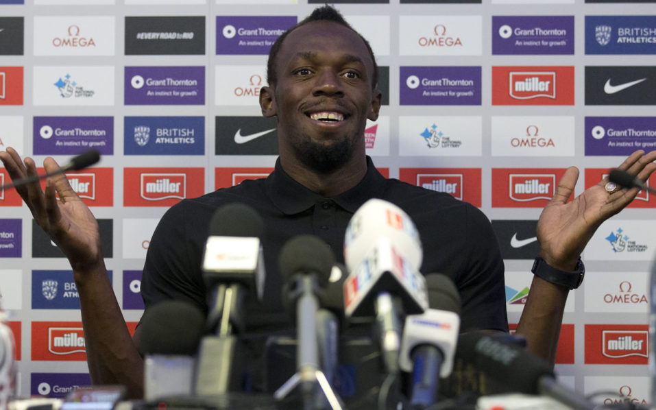 Jamaican sprinter Usain Bolt speaks at a press conference in London on July 21, 2016, ahead of the Anniversary Games athletics meet in London. Usain Bolt insists he is ready for his first 200 metres of the season in the Anniversary Games on Friday as the star sprinter tests his fitness ahead of the Rio Olympics. / AFP PHOTO / JUSTIN TALLIS