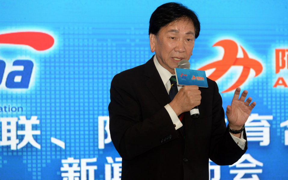 AIBA President Ching Kuo-Wu speaks during a press conference between AIBA (International Boxing Association) and Alisports (Alibaba Sports Group) in Shanghai on July 25, 2016. The International Boxing Association (AIBA) denied accusations it intends to take over the sport, following a controversial decision to allow professional boxers fight at next month's Rio Olympics. / AFP PHOTO / STR / China OUT