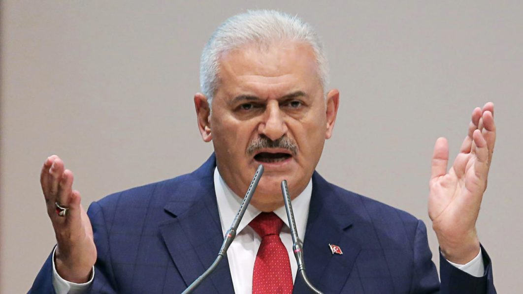 Turkish Prime Minister and leader of the Justice and Development Party (AK Party) Binali Yildirim .  ADEM ALTAN / AFP
