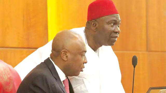 Senate President, Bukola Saraki and his Deputy, Ike Ekweremadu.