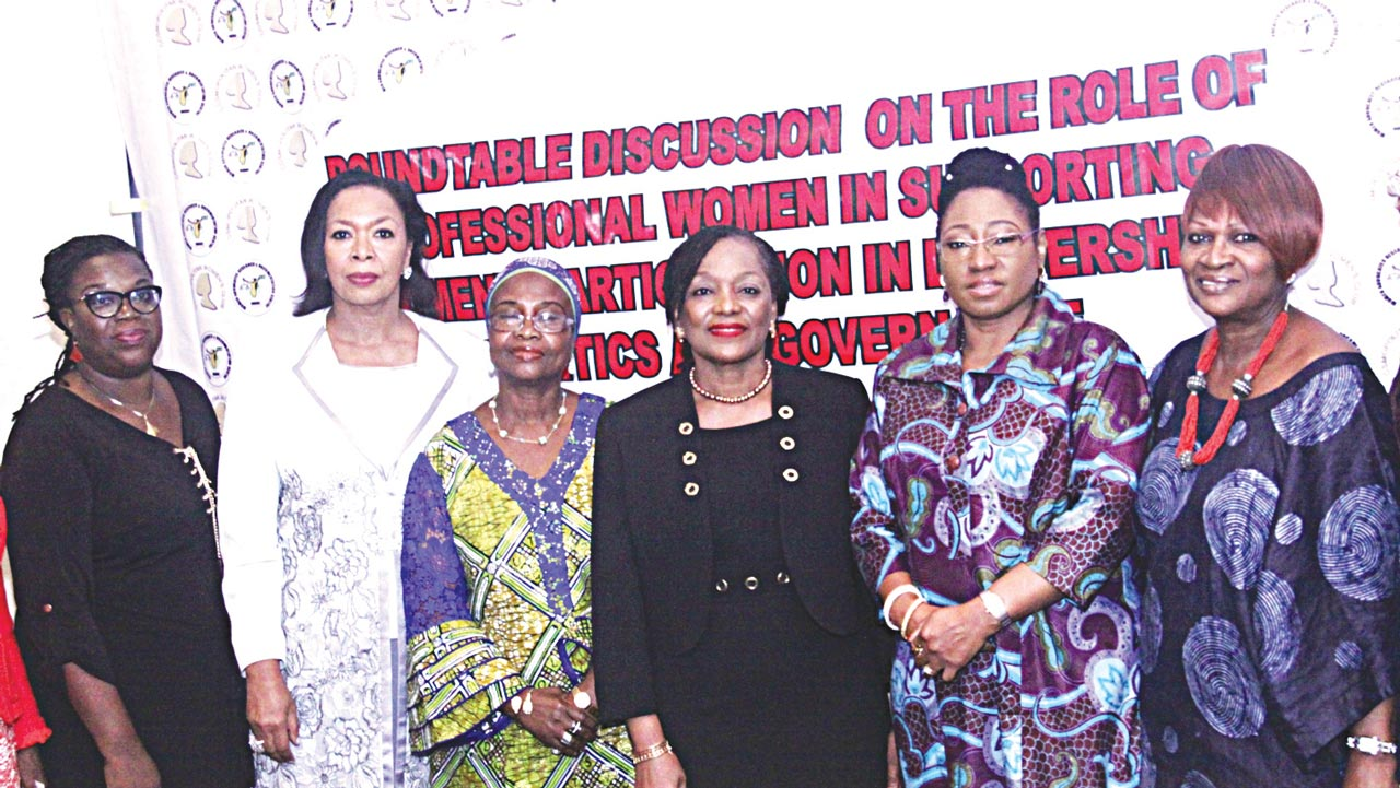 Founding Director, Women Advocates Research & Documentation Centre, (WARDC), Dr.Abiola Akiyode-Afolabi; Chairman, Afriland Properties cum former First Lady of Ekiti State, Erele Angela Adebayo; Former Member, House of Representative, Hon Rafeequat Onabamiro; Chairman, LASACO Assurance Plc cum Vice President, Cosmopolitan Women's Club, Mrs Aderinola Disu; Former First Lady, Ekiti State, Erelu Bisi Fayemi and Yemisi Ransome-Kuti at a roundtable discussion on the Role of Professional Women in Supporting Women in Leadership, Politics and Governance organised by WARDC in collaboration with the Cosmopolitan Women's Club in Lagos.