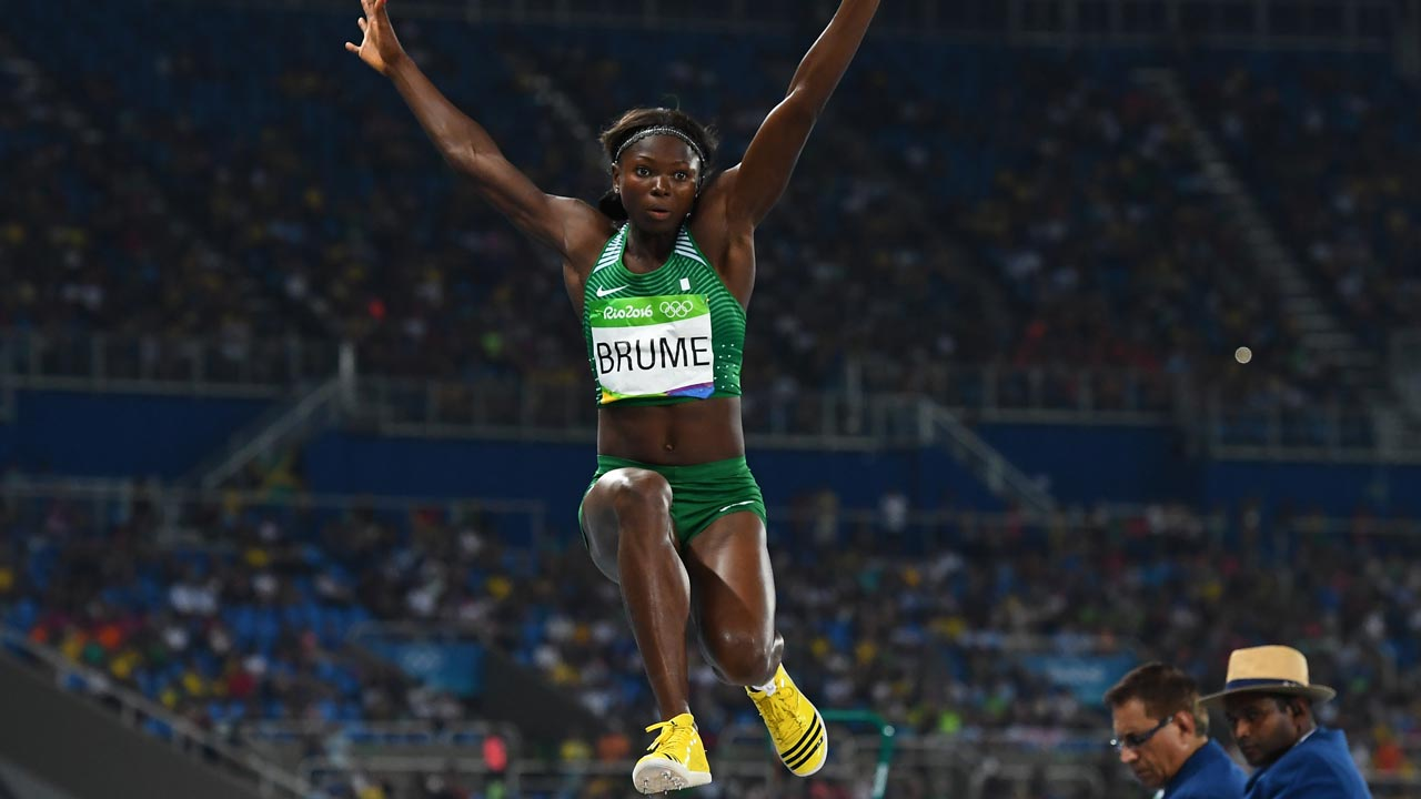 Ese Brume during the long jump event in Rio. The owner of FROT Group, Frank Momoh yesterday rewarded her and coach Kayode Yaya in Lagos. FRANCK FIFE / AFP