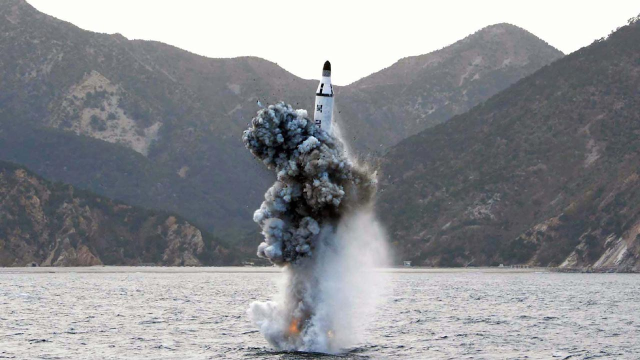 (FILES) This file photo taken on April 24, 2016 shows a picture released from North Korea's official Korean Central News Agency (KCNA) showing an underwater test-fire of a strategic submarine ballistic missile at an undisclosed location in North Korea on April 23, 2016. North Korea conducted an apparently successful submarine-launched missile test on August 24, 2016, days after threatening a nuclear strike in retaliation at the start of large-scale South Korea-US military exercises. KCNA / KCNA VIA KNS / AFP