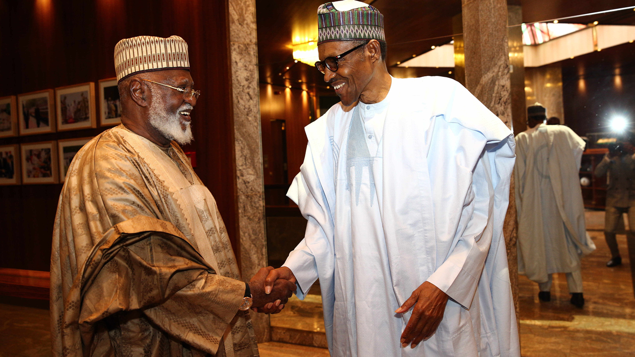 President Muhammadu Buhari welcoming former Head of State Gen. Abdulsalami Abubakar to his office at the State House Abuja on Thursday, August 18, 2016. PHOTO: PHILIP OJISUA
