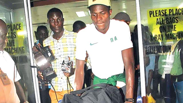 A player of the U-23 team on arrival in Lagos on Monday night after finishing third at the just concluded Rio Olympic Games. Photo: FEMI ADEBESIN-KUTI