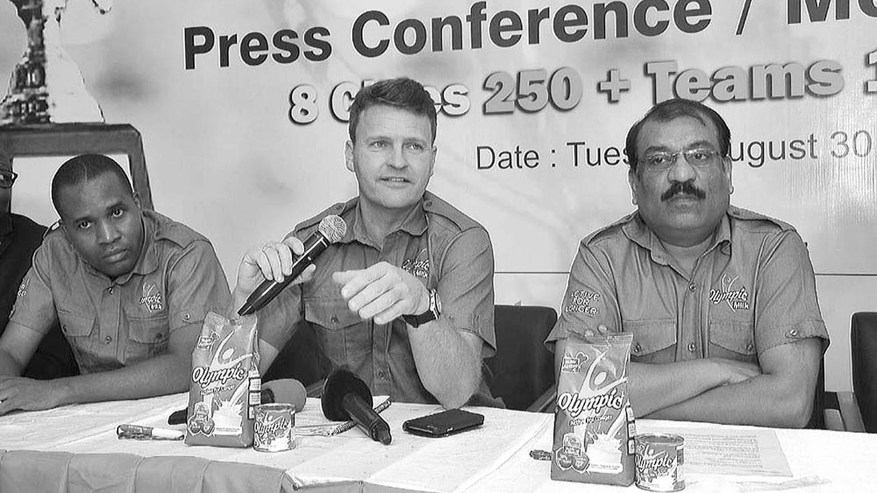 Managing Director, Nutricima, Eelco Weber (middle), Marketing Director, Kalyan Bandyopadhyay (right), and Sales Director, Bola Arotiowa, during the unveiling of the Olympic Milk Five-A-Side Championship in Lagos…yesterday.