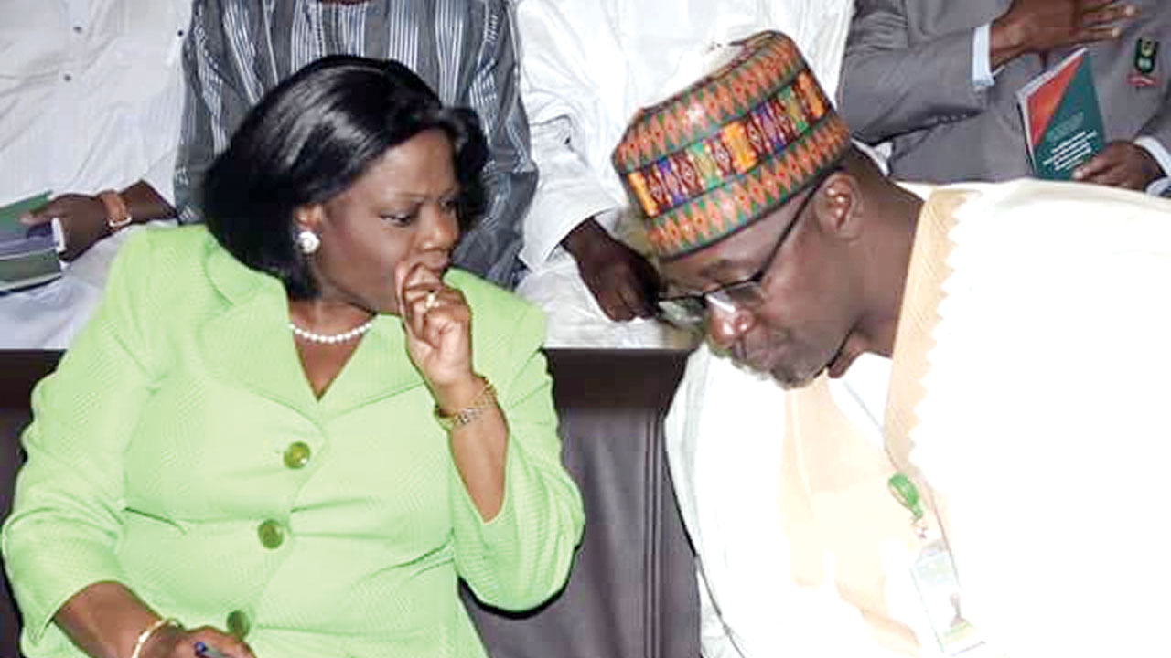Permanent Secretary Federal Ministry of Information and Culture Mrs Ayotunde Adesugba and the Director General of NBC, Is'haq Moddibo Kawu at Annual Lecture of the National Broadcasting Commission last week in Abuja