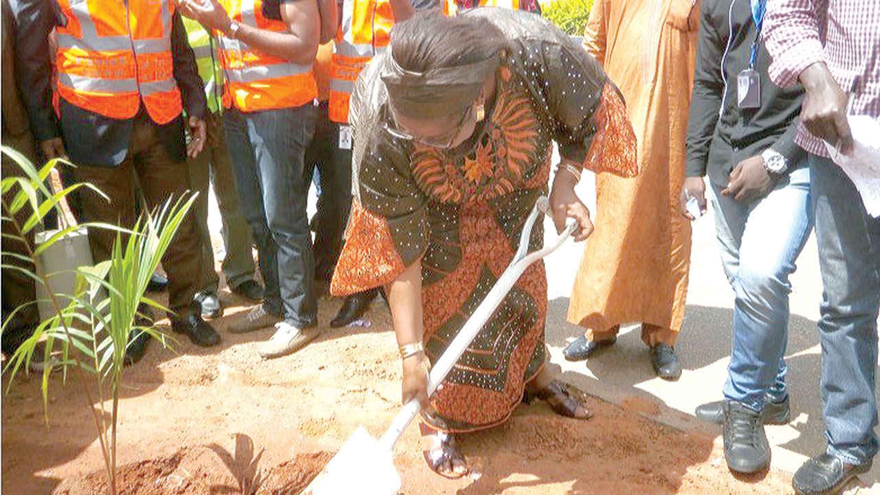 The Plateau commissioner for Agriculture, Mrs. Linda Barau planting trees in Jos