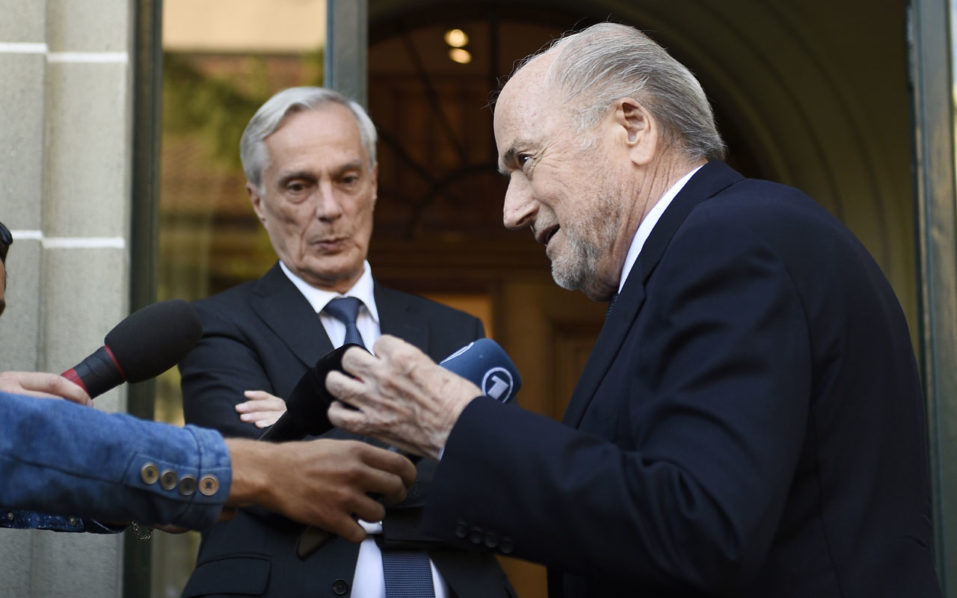 Former FIFA President Sepp Blatter speaks to the medias as he arrives for his appeal to the Court of Arbitration for Sport (CAS) seeking to overturn a suspension imposed by world football's governing body, on August 25, 2016 in Lausanne. Sepp Blatter is back in court in a final bid for redemption as he seeks to overturn a six-year ban from football following more than a year of scandal. / AFP PHOTO / ALAIN GROSCLAUDE