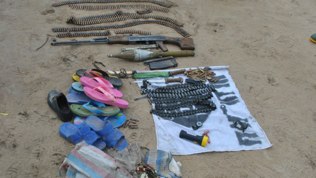 Some of the weapons recovered from the suspected terrorists. PHOTO: NIGERIAN ARMY