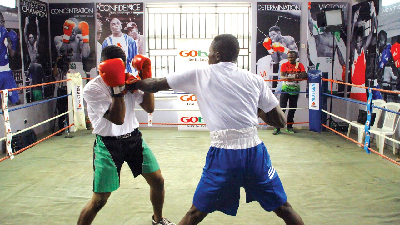 Building for tomorrow….Young boxers fighting for tickets to enable them make the GOtv Boxing NextGen Search 2 yesterday at the Lagos Boxing Hall of Fame Gym, 65 Olatilewa Street, Off Lawanson Road, Surulere, Lagos.
