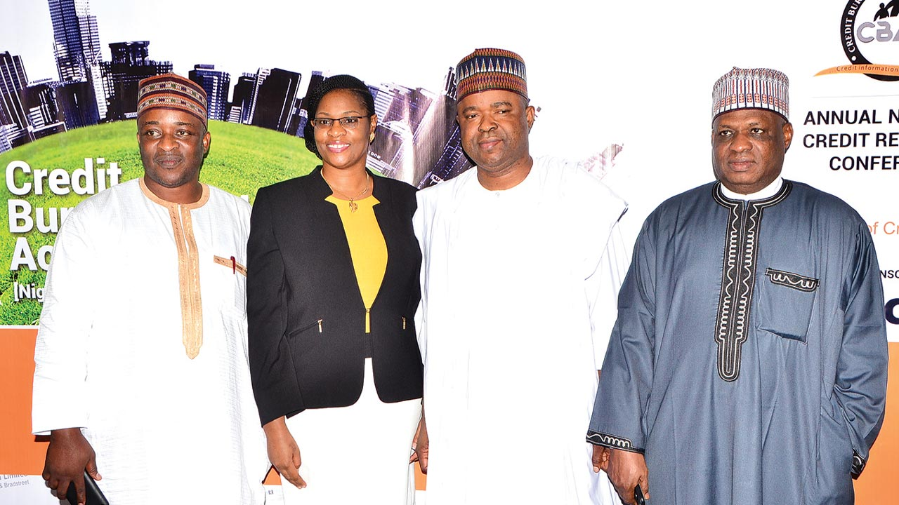 Deputy Chairman, Banking and Currency, National Assembly, Salisu Zakari Ningi (left); Chairperson, Credit Bureau Association of Nigeria (CBAN), Jameelah Sharrieff-Ayedun, Chairman, Senate Committee on Banking, Insurance and other Financial Institutions, Rafiu Ibrahim; and Vice Chairman, Senate Committee on Banking, Insurance and Financial Institutions, Umaru Kurfi, at the third National Credit Reporting Conference organised by CBAN, in Lagos.