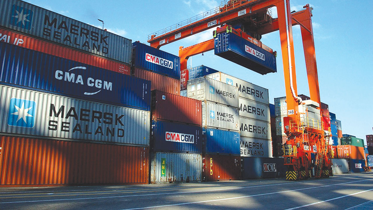 Container stacking area at the port.