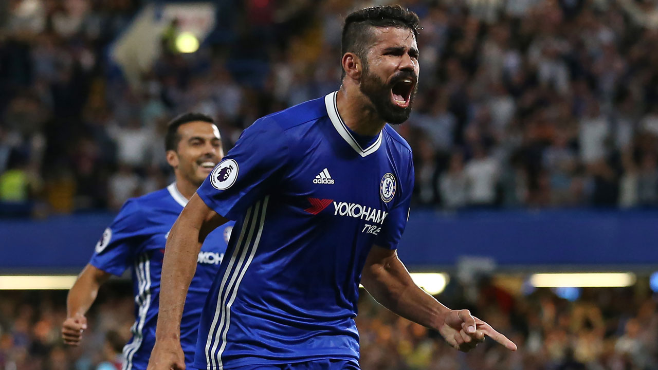 Chelsea's Brazilian-born Spanish striker Diego Costa celebrates after scoring their second goal during the English Premier League football match between Chelsea and West Ham United at Stamford Bridge in London on August 15, 2016. Chelsea won the game 2-1. Justin TALLIS / AFP