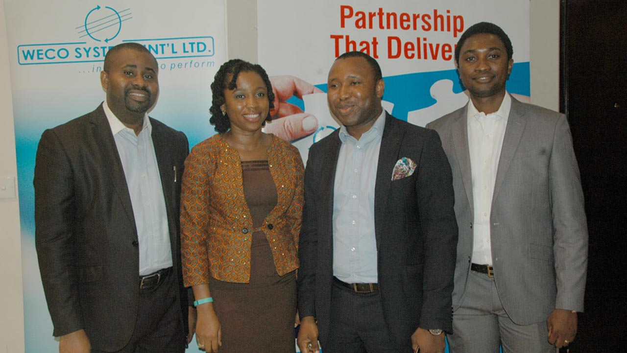 L-R: Chief Operating Officer, Weco Systems International Limited, Nnamdi Onyebuchi; Territory Business Manager Sales, Cisco Systems, Eberechi Nkoro; Telecom / Network Officer, Diamond Bank, Charles Ifinedo and Solutions Manager, Mobility and MPLS Omotunde Ogunbiyi, of Weco Systems during Weco/Cisco Enterprise Mobility Workshop in. Lagos.